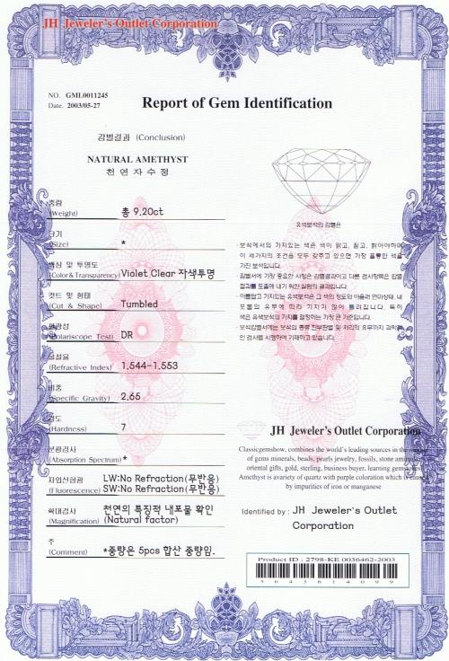 Biomat Gemstone Certificate | Gemstone Certification